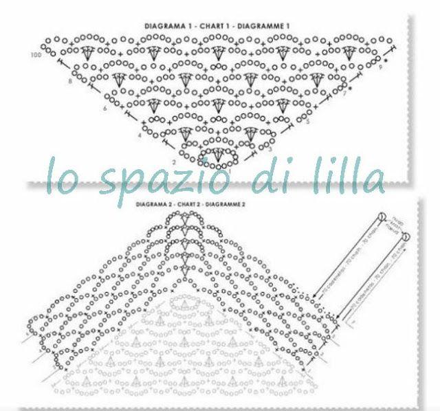 lo spazio di lilla: Scialli crochet con schemi / Crochet