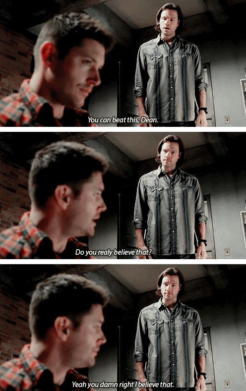 """You can beat this, Dean"" // [gifset] 10x12 About A Boy #SPN #Dean #Sam // Sammy believes in you, why can't you believe in yourself Dean? // Awww Sammy you melt me heart!"