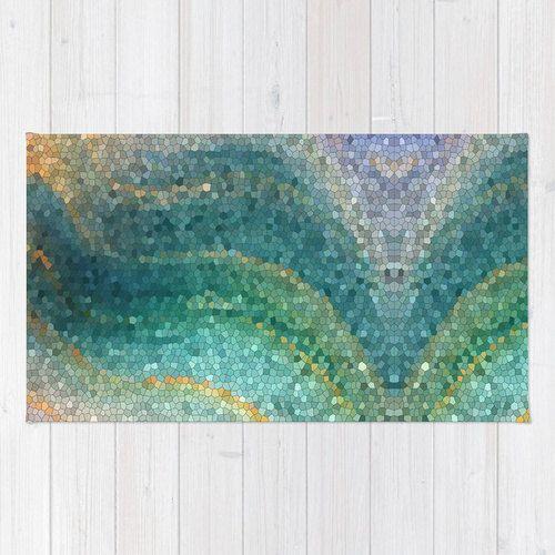 Bath Mat Mermaid Tail Green Teal Aqua Wave Ocean Island