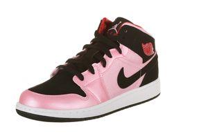 detailing 9c7c5 62fb1 Air Jordan Girls 1 Mid Grade School (GS) Sneakers in Ion Pink Black Gym Red  (555112-608)
