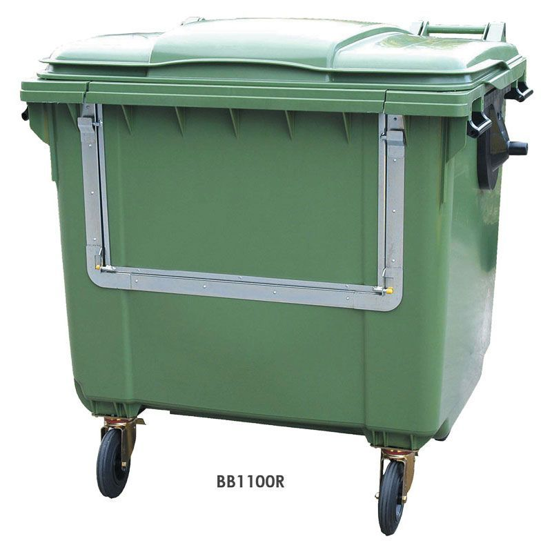 Green recycling wheelie bin with drop frontbin drop