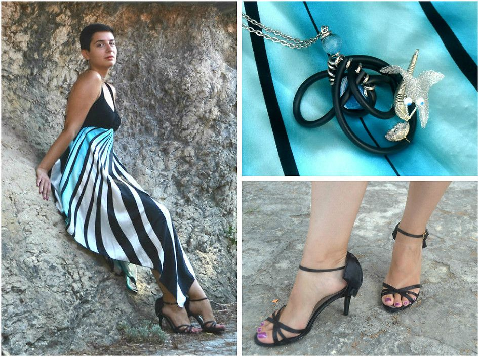Black Bata heels by Miss Dee, fashion blogger at http://missdeestyle.wordpress.com/ from split, croatia #batashoes #Missdee  My new romantic summer look, hope you like it :) !  The rest of the look at the story about animal themed jewelry at:  http://missdeestyle.com/2014/09/12/girl-who-fell-on-earth/  Kisses,   Dee
