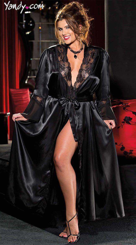 43411378f2 Plus Size Satin and Chiffon Robe