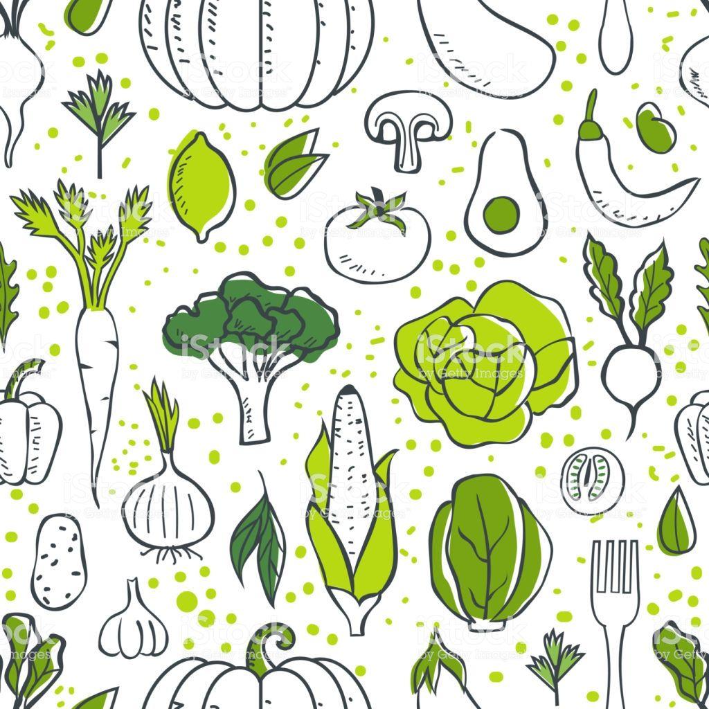Farm Fresh Vegetables Seamless Pattern Sketch Style Vector Vegetable Illustration Pattern Sketch Illustration