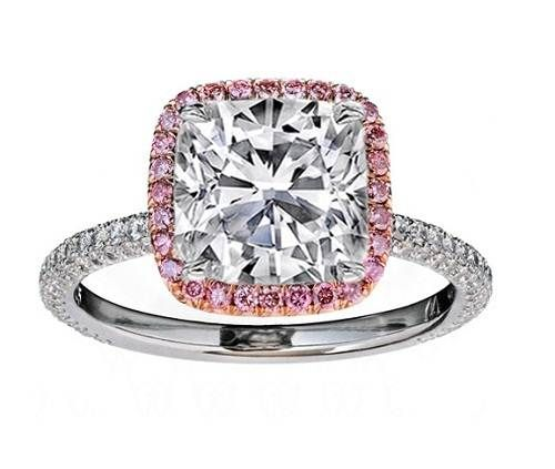 Cushion Diamond Engagement Ring Natural Pink Halo Rose Gold The Diamonds Would Be Black Though Of Course