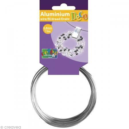 Fil aluminium 0,8 mm fin Argent x 15 mètres