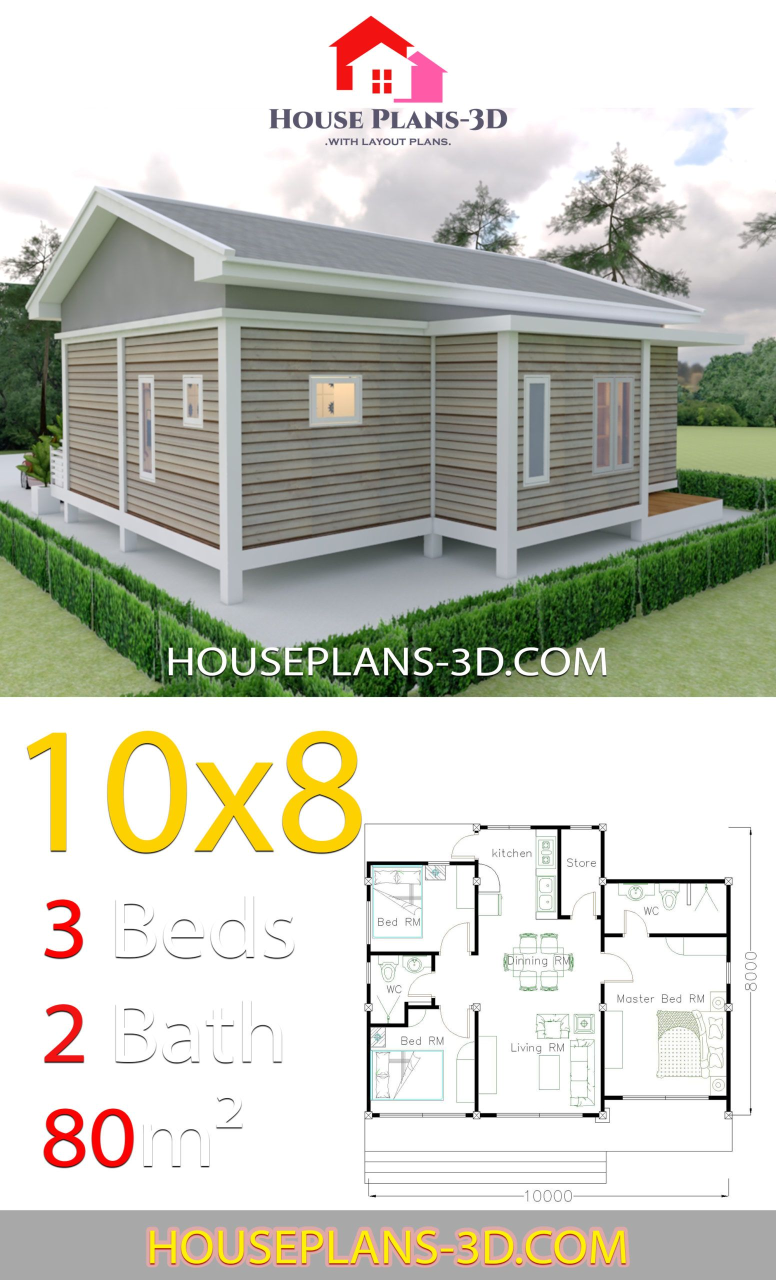 House Plans 10x8 With 3 Bedrooms Gable Roof House Plans 3d House Plans Gable Roof House Diy Tiny House Plans