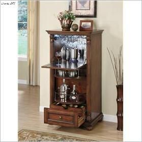 brown finish wood wine rack bar cabinet with revolving bottle storage and glass holders a
