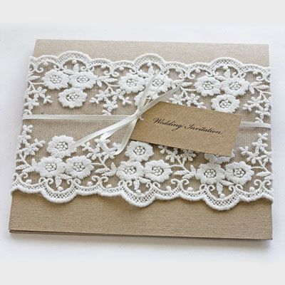 wedding invitation - like the idea of using lace or a fabric
