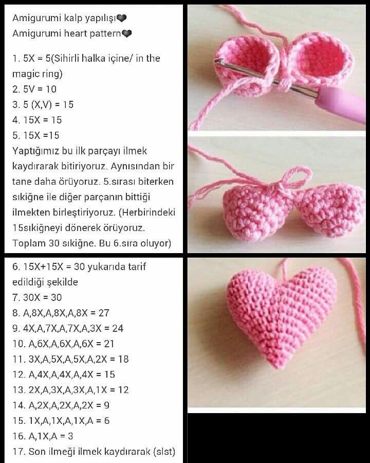 Örgü amigurumi kalp yapımı - detaylı tarif – 10marifet.org | 900x720