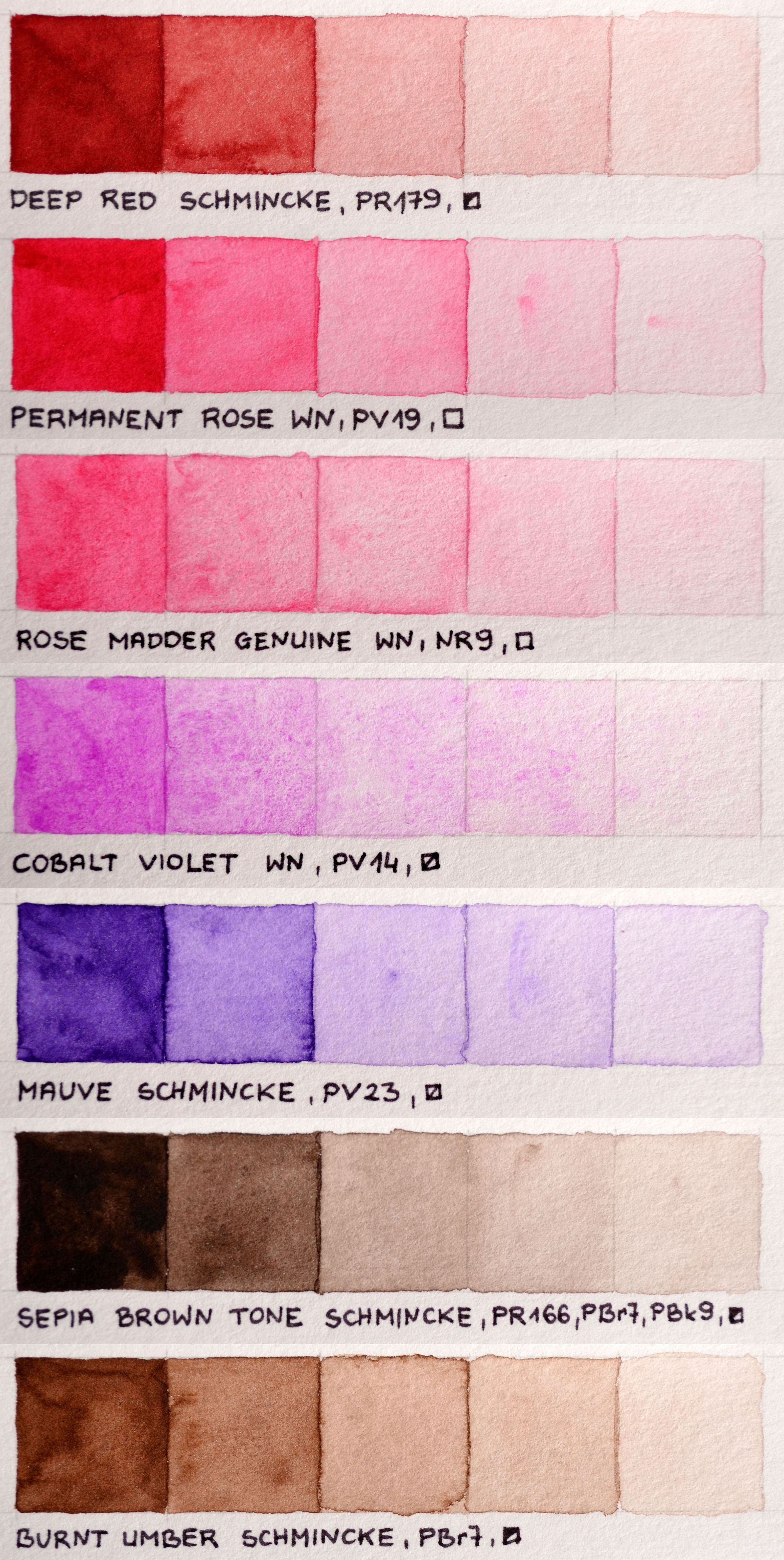 My Color Chart Of Winsor Newton Professional And Schmincke Horadam