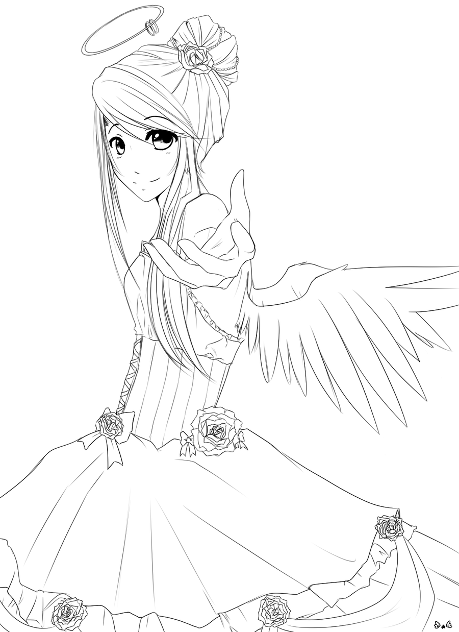 anime line art angel - Google Search | Desenho ART | Pinterest ...