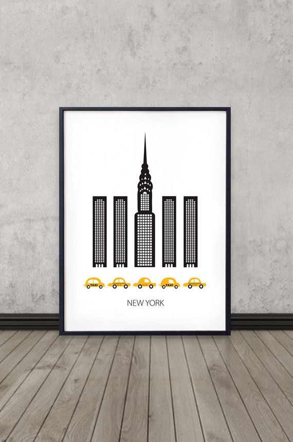 affiche de new york art print design scandinave skyline affiche moderne th me new york. Black Bedroom Furniture Sets. Home Design Ideas