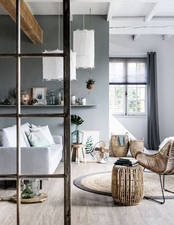 Grey Home Interiors Exterior Living Room  Grey White Natural Elements  Scandinavian Style .