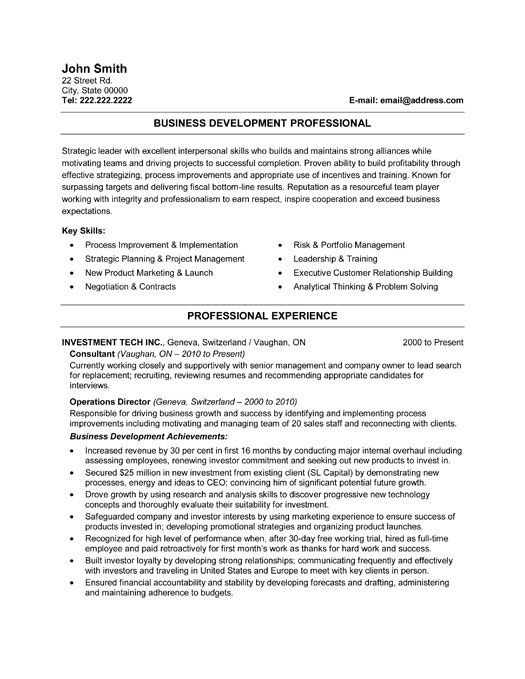 Click Here To Download This Business Developer Resume Template