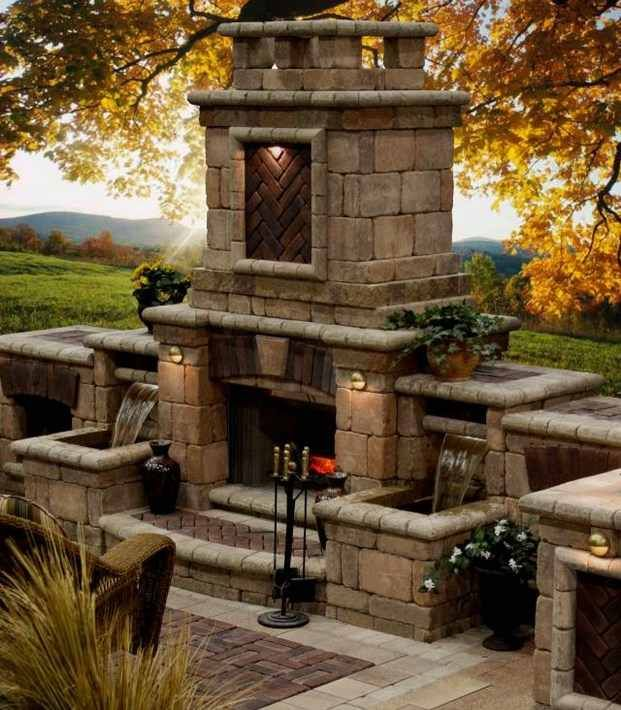 Glowing Outdoor Fireplace Ideas: Large Luxury Outdoor Fireplaces Ideas