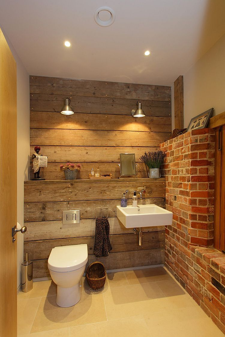 Rustic Bathroom With Reclaimed Wood And Exposed Brick Walls Design Hampshire Light Brick Bathroom Rustic Bathroom Designs Rustic Bathrooms