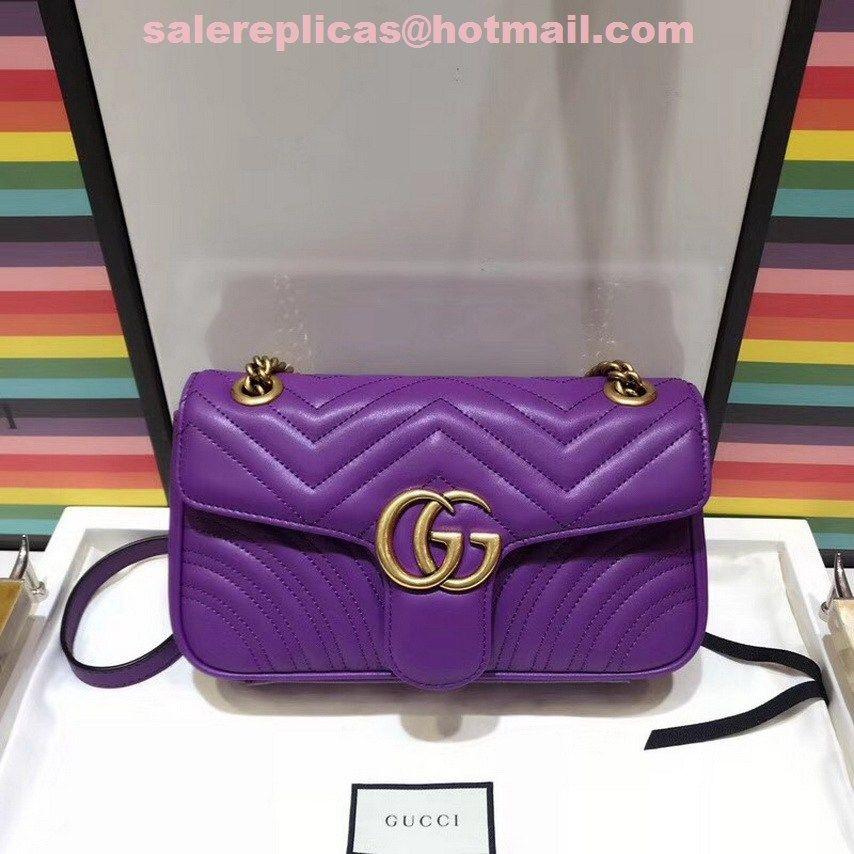 3789d7c625 Replica Gucci GG Marmont small bag 443497 Purple