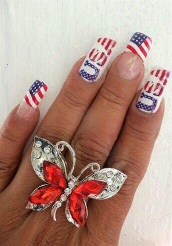 Usa Nails Nail Art Pinterest Usa Nails Vacation Nails And Toe