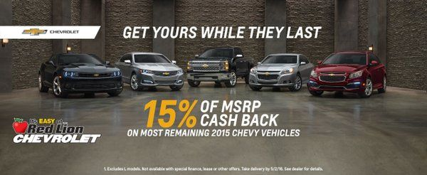 DONT MISS OUT ON THE 15%OFF EXTENDED TILL THE END OF APRIL AT RED LION CHEVY.