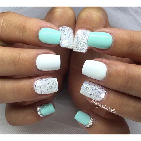 mint green and white glittermargaritasnailz from nail