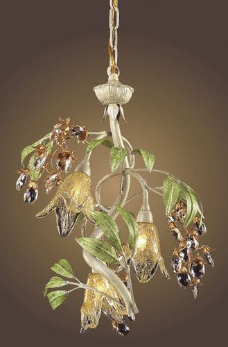 ELK Lighting Lighting 86051 Three Light Chandelier In Seashell And Amber Glass