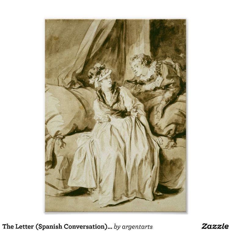 The Letter (The Spanish Conversation) by Jean-Honoré Fragonard, brush and ink drawing on ivory paper