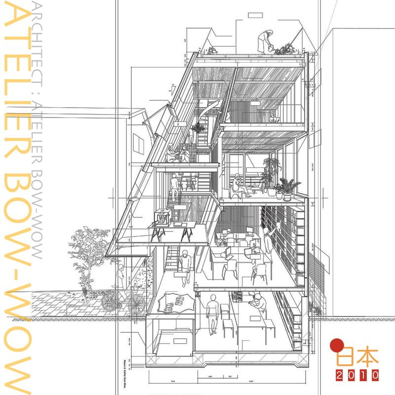 Atelier bow wow love the lady watering plants human for Bow house plans