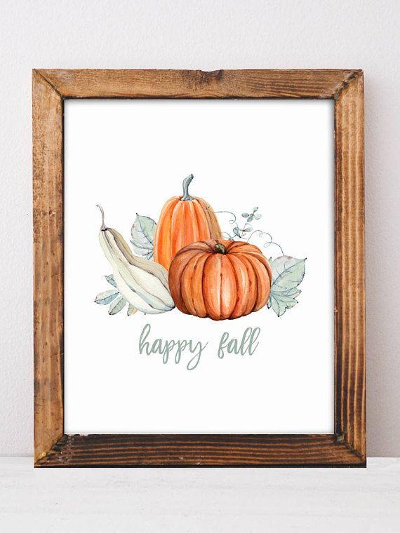 Happy Fall, Thanksgiving Decor, Pumpkin Decor, Fall Mantle Decor, Farmhouse Decor, Wall Art, Gift Fo