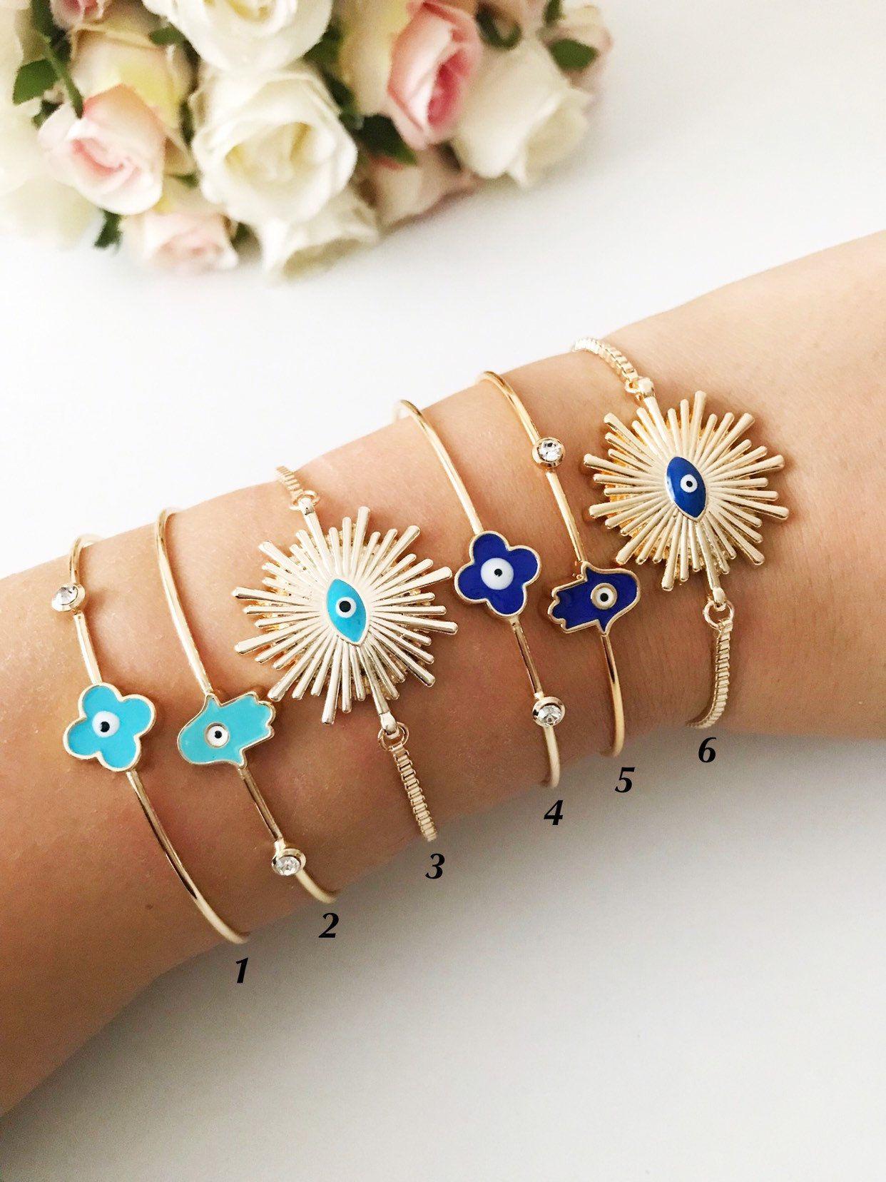 Evil eye bracelet, hamsa bracelet, bangle bracelet, evil eye jewelry, sunny evil eye charm bracelet, adjustable bracelet, clover bracelet