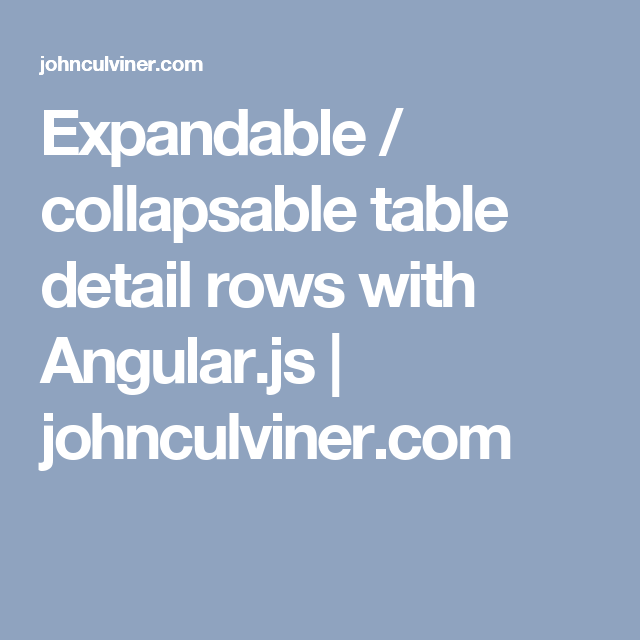 Expandable / collapsable table detail rows with Angular js