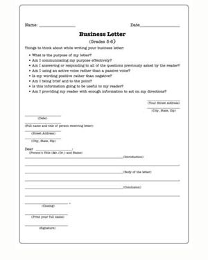 Writing Letter Format For Kids Business Letters Practice Teaching