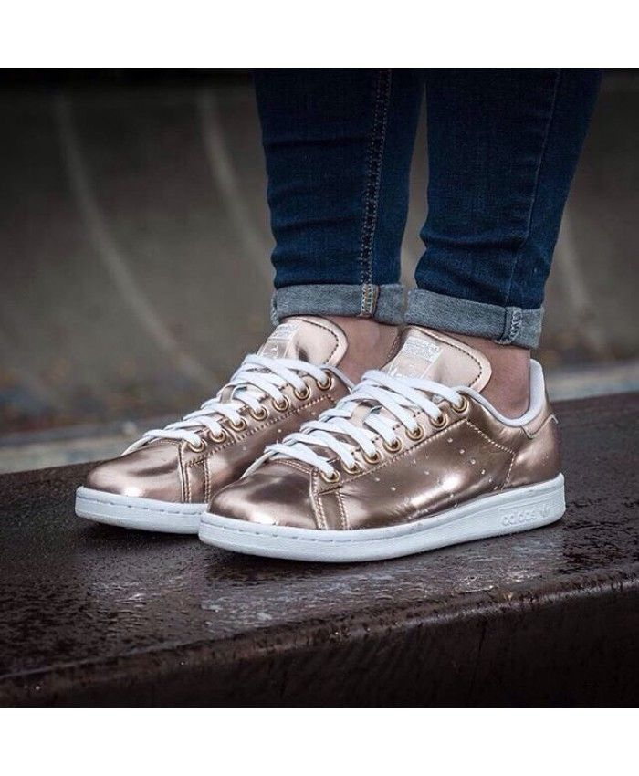 Chaussures Adidas Stan Smith Métallique Rose Gold