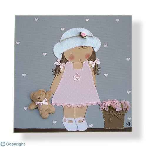 cuadro infantil personalizado ni a con sombrero ref