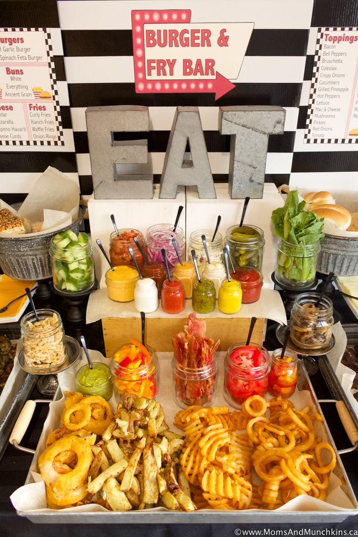 Burger and Fry Bar Ideas plus Free Printables - Moms & Munchkins