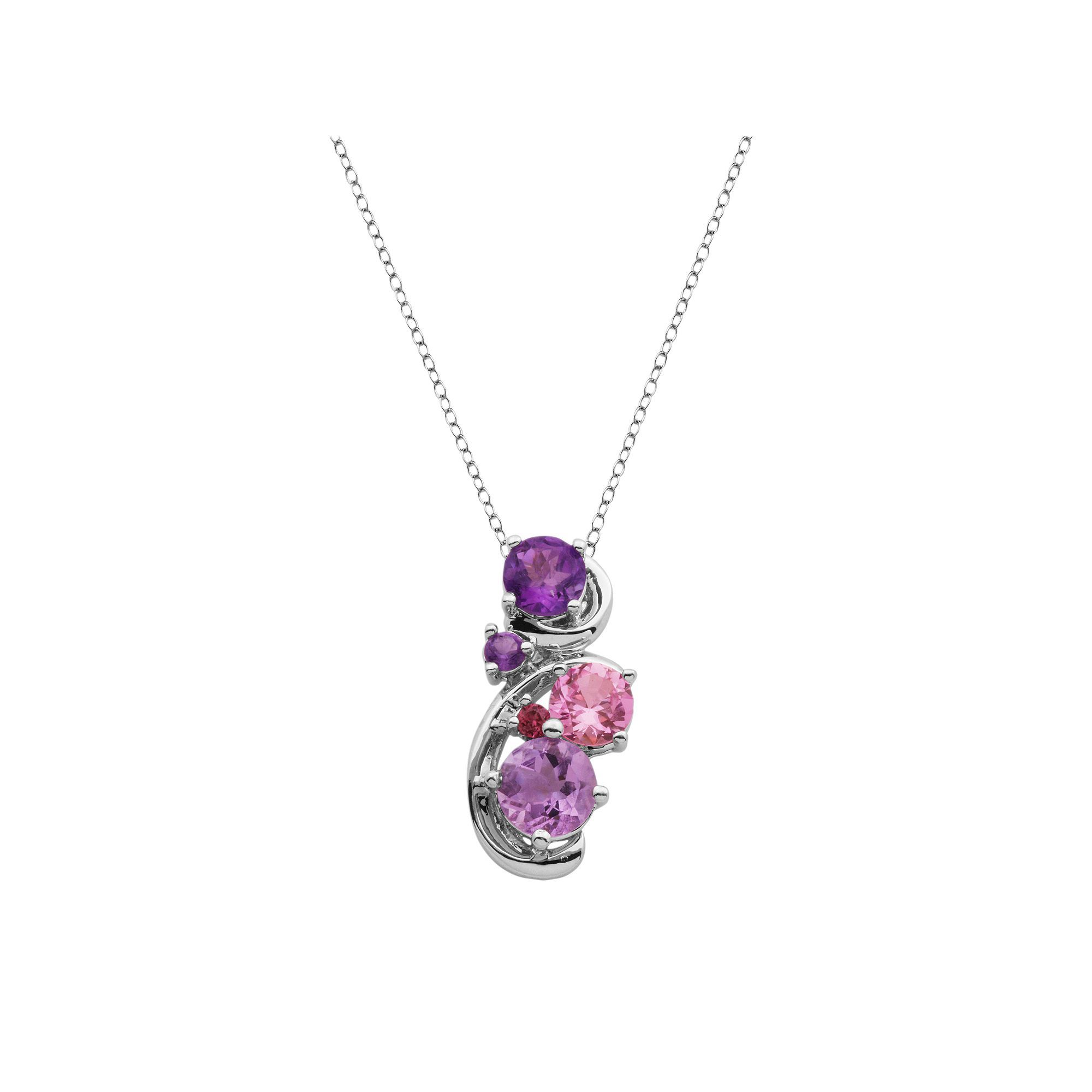 silver necklace double tourmaline rhodolite garnet watermelon products detail pendant robinson chain gold stephanie