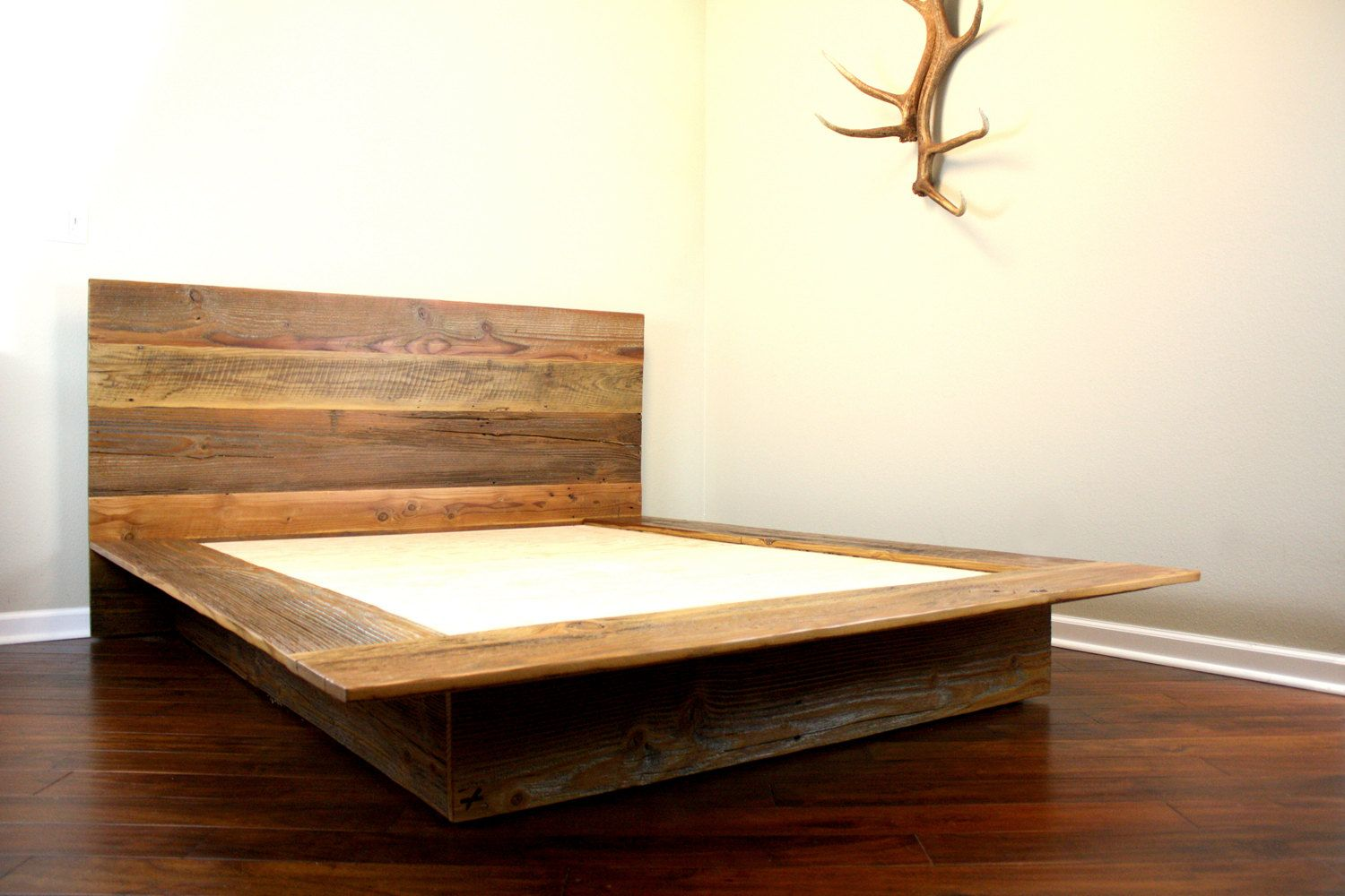 Reclaimed wood platform bed salvaged wood headboard for Pedestal bed