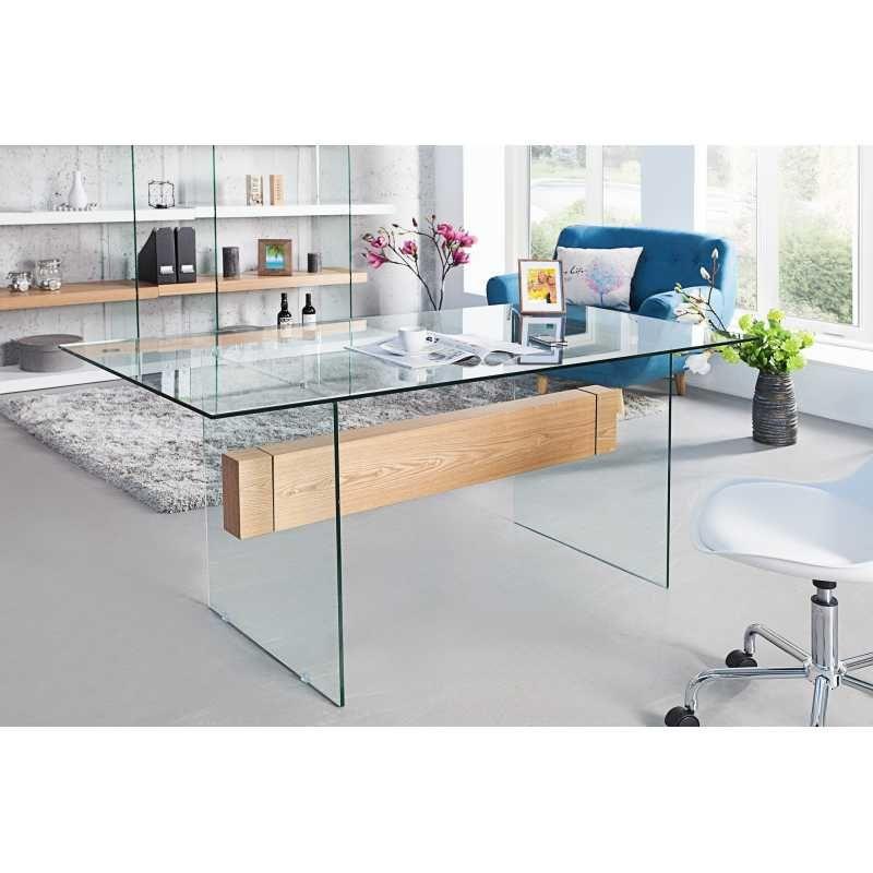 Bureau moderne 160 cm en verre trempé coloris blanc brillant | Table ...