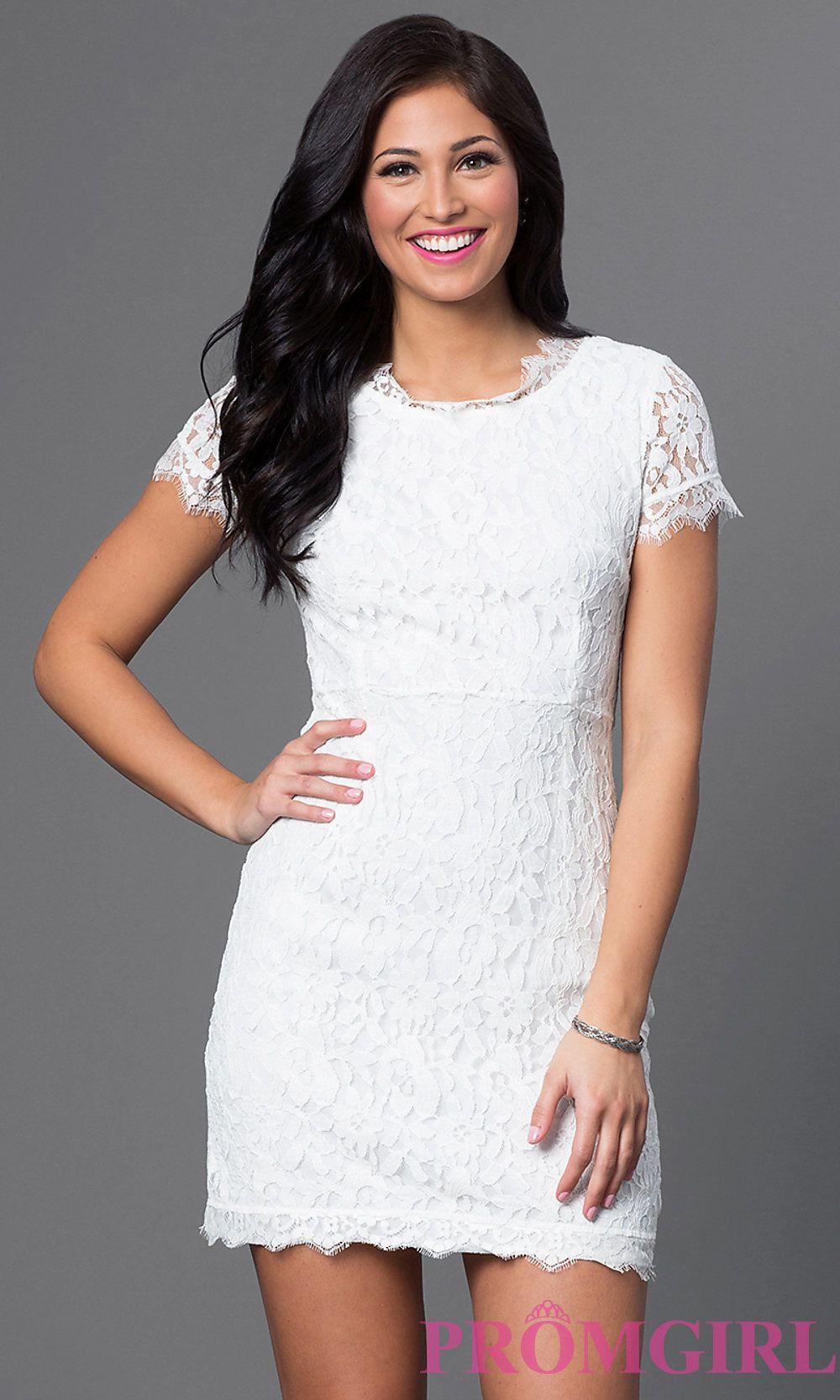 4b95aea5d0ca78 Short Sleeve Short Lace Dress Short Graduation Dresses, White Homecoming  Dresses, Grad Dresses,