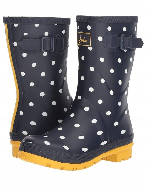 Womens Mid Calf Boots Rubber Rain Boots Polka Dot Pull On Waterproof Shoes New