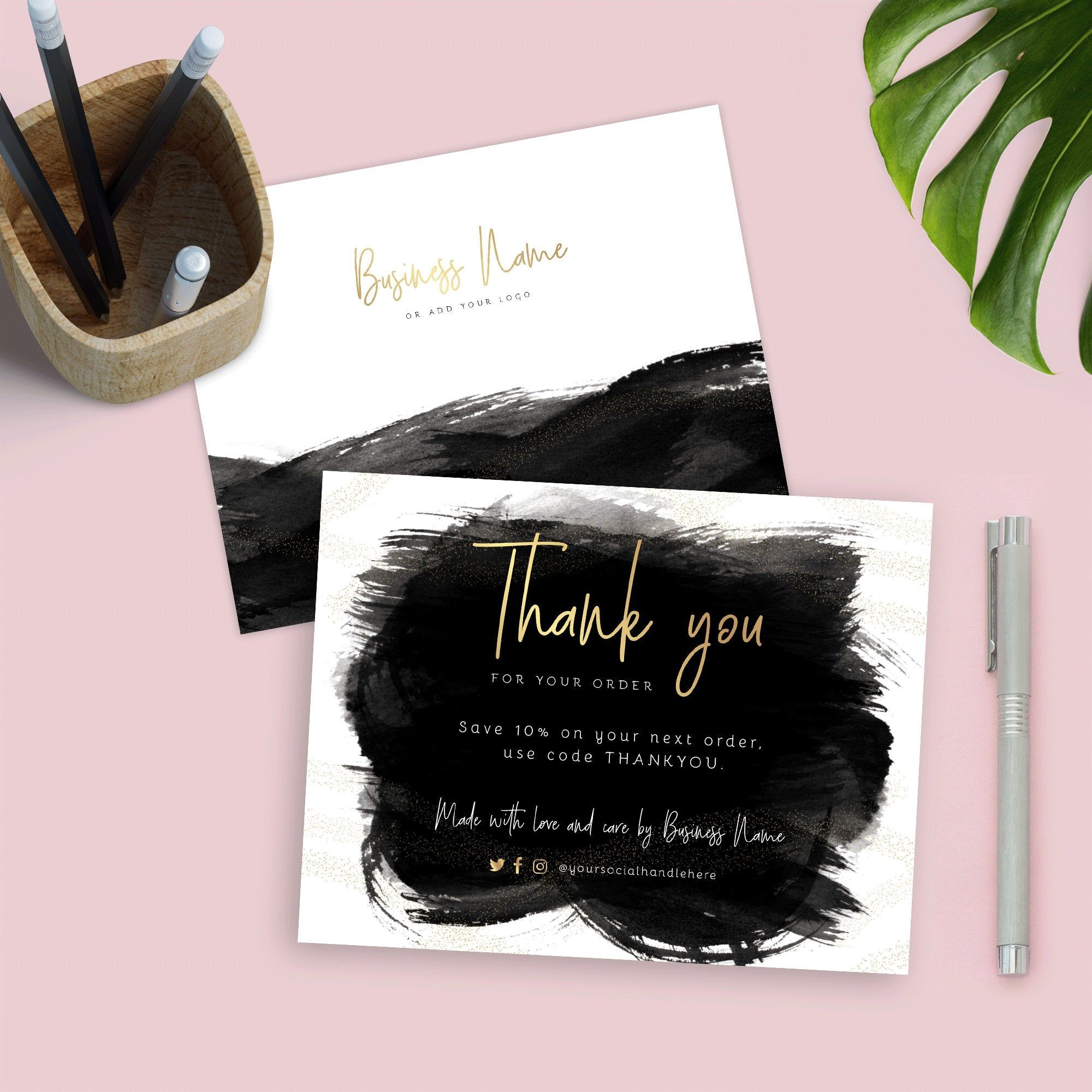 Black Gold Business Thank You Card Template Diy Thank You Etsy Business Thank You Cards Thank You Card Template Thank You Card Design