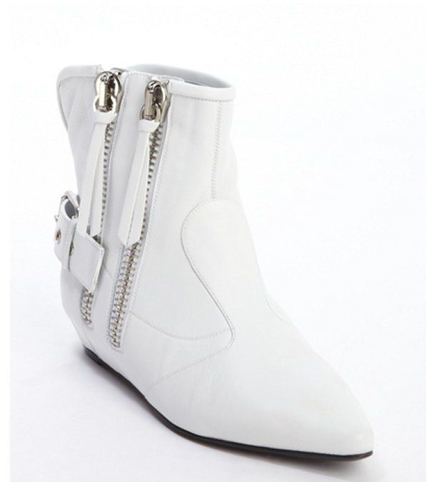 ♡ Giuseppe Zanotti white leather covered wedge side zipper 'Maude' ankle boots at Bluefly