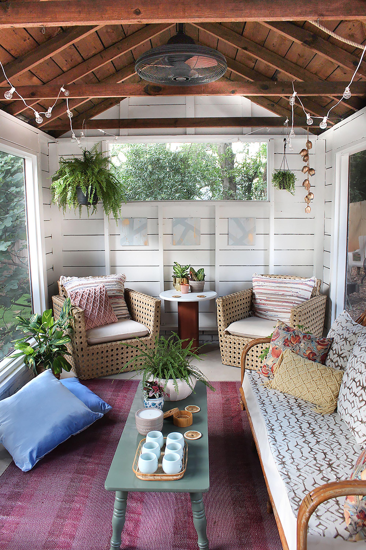 Boho screened porch.