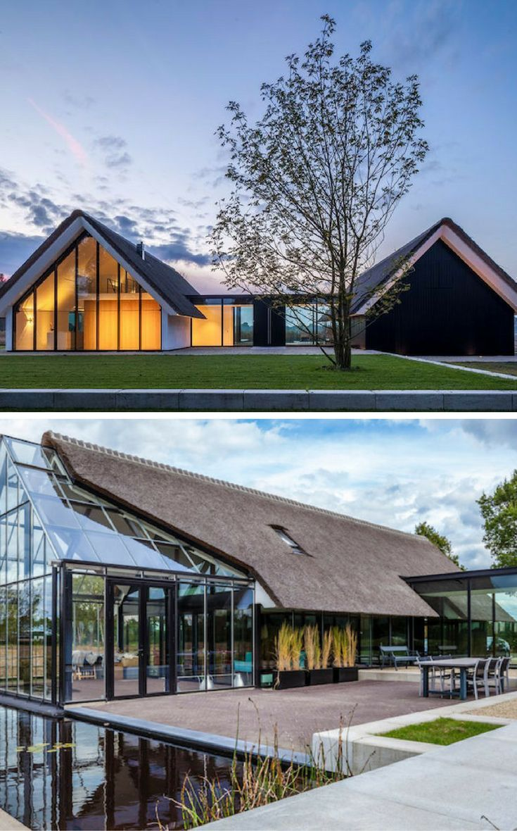 Glass House Architecture: A Beautiful Thatched H-Shaped Home With A Greenhouse Like
