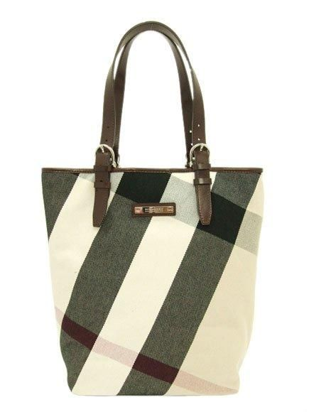 Burberry Check Fabric Tote PM Handbag Coffee