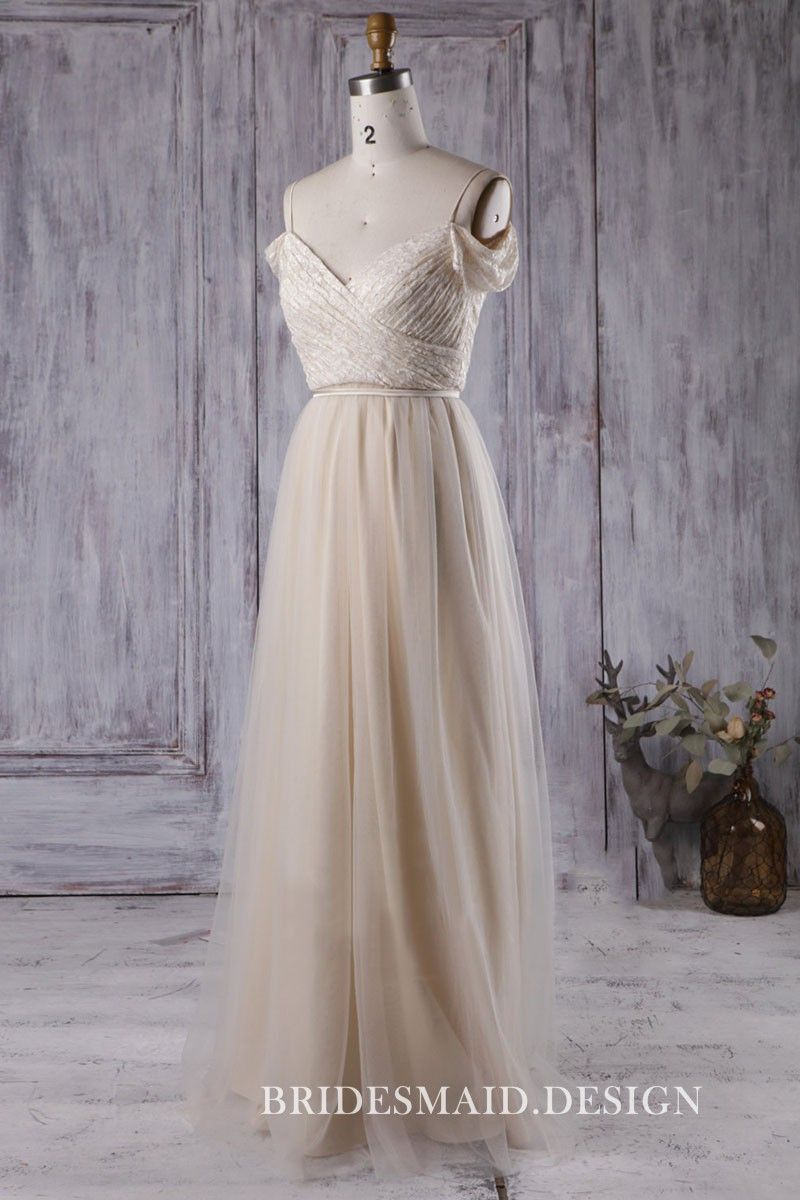Ruched Bodice Satin Champagne Bridesmaid Dresses