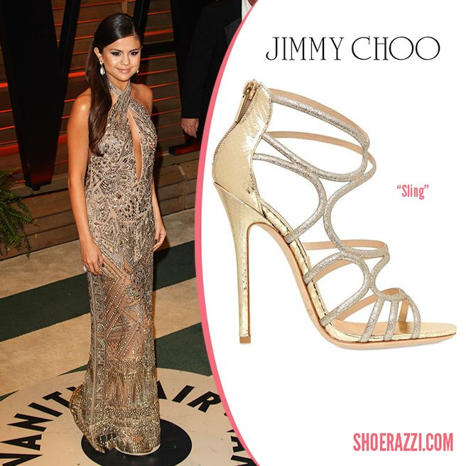 73a03f278f25 Selena Gomez in Jimmy Choo  Sling  Strappy Cage Sandals to the 2014 Vanity  Fair Oscar Party.