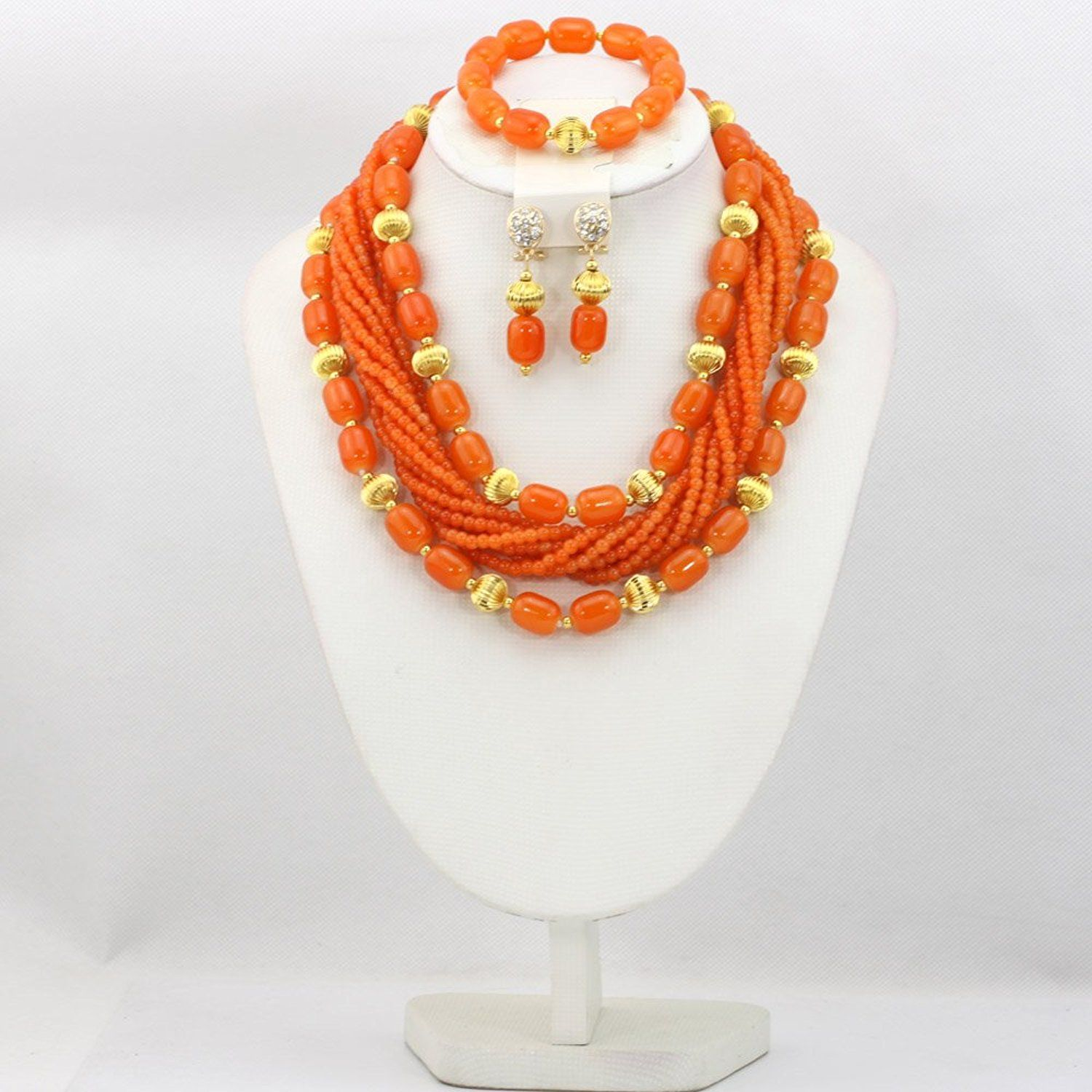 Africanbeads 3 Rows African Artificial Coral Necklace Wedding Gift ...