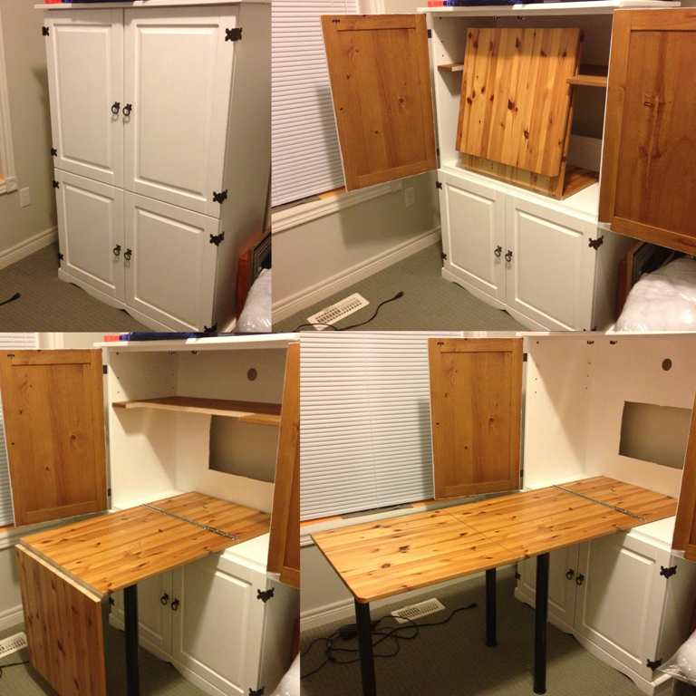 Sewing Armoire Idea For Fold Out Table Perfect For My Crafts And Knitting Too Craft Armoire Armoire Diy Craft Table