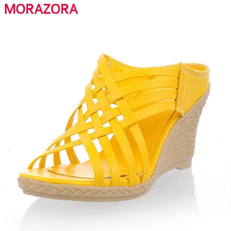 6404b3fe4b3 MORAZORA 2017 ladies slippers Gladiator high heels wedges sandals shoes  women weaving TPR bottom comfortable lady shoes